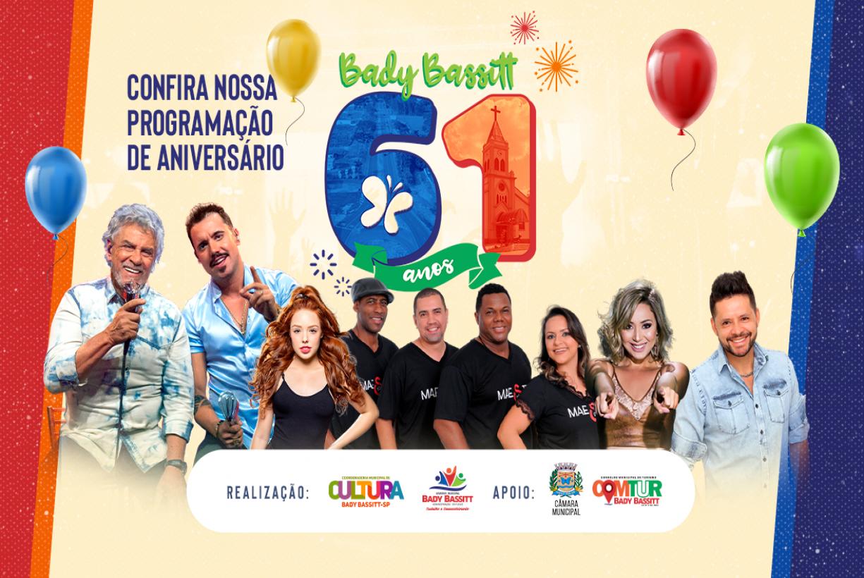 Aniversário de Bady Bassitt terá show de Matogrosso & Mathias, roda de samba e proibição de rojões . Confira a programação!