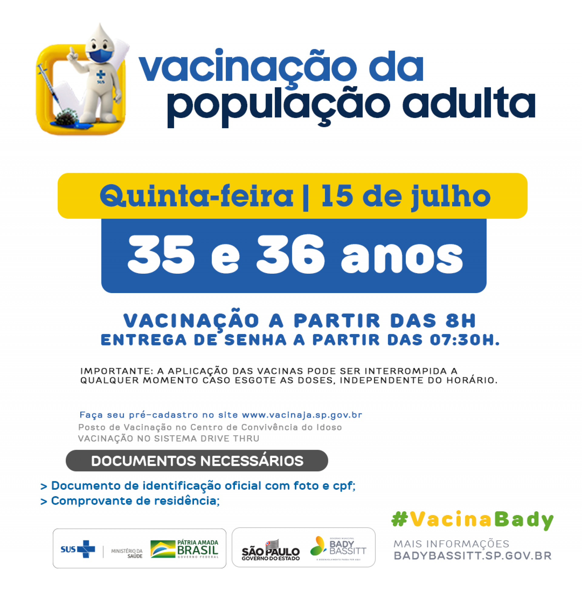 Publico alvo para vacinação dia 15/07/2021