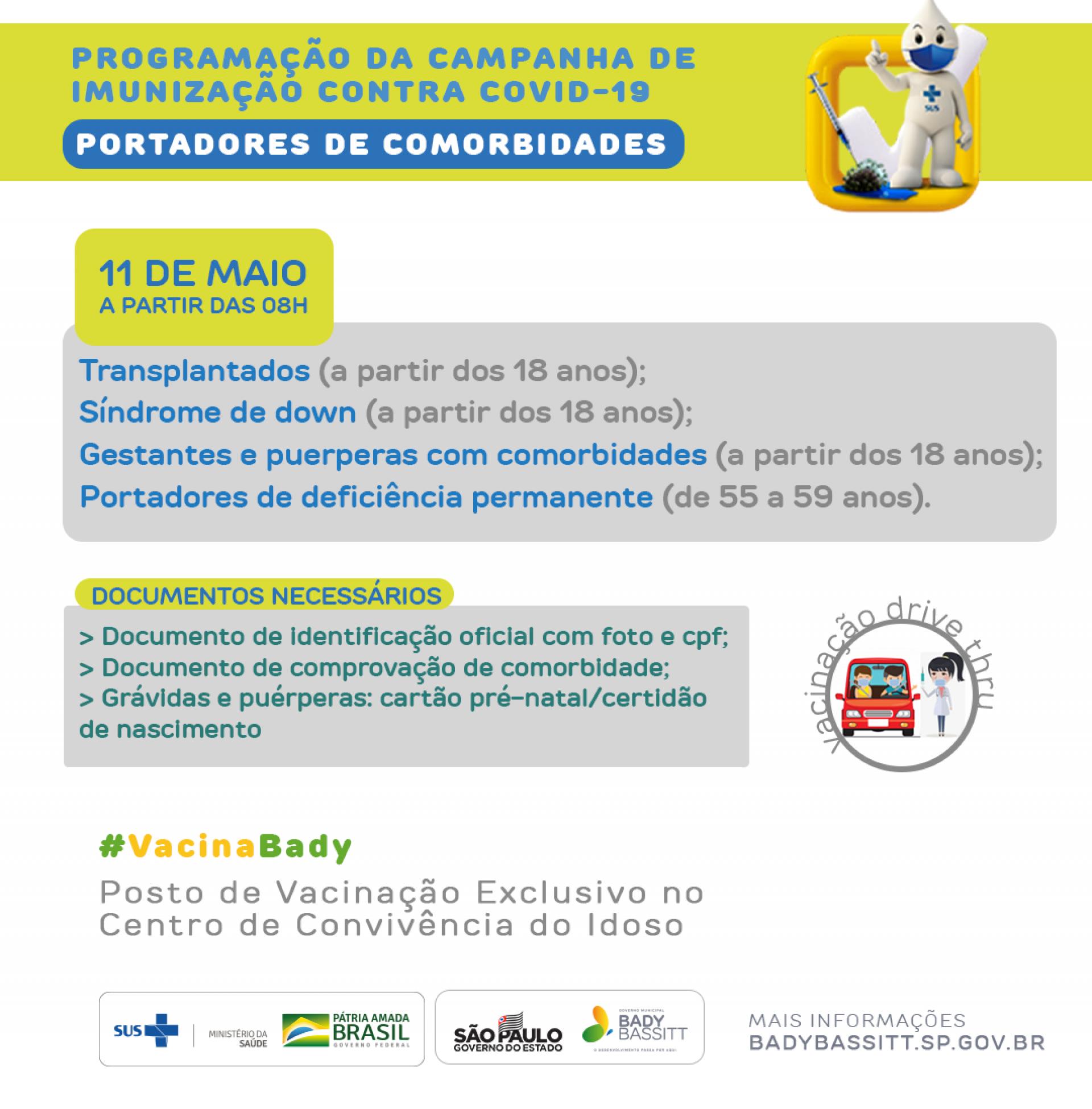 Bady Bassitt inicia vacinação contra covid -19 em pacientes com comorbidades a partir desta terça-feira (11/05)