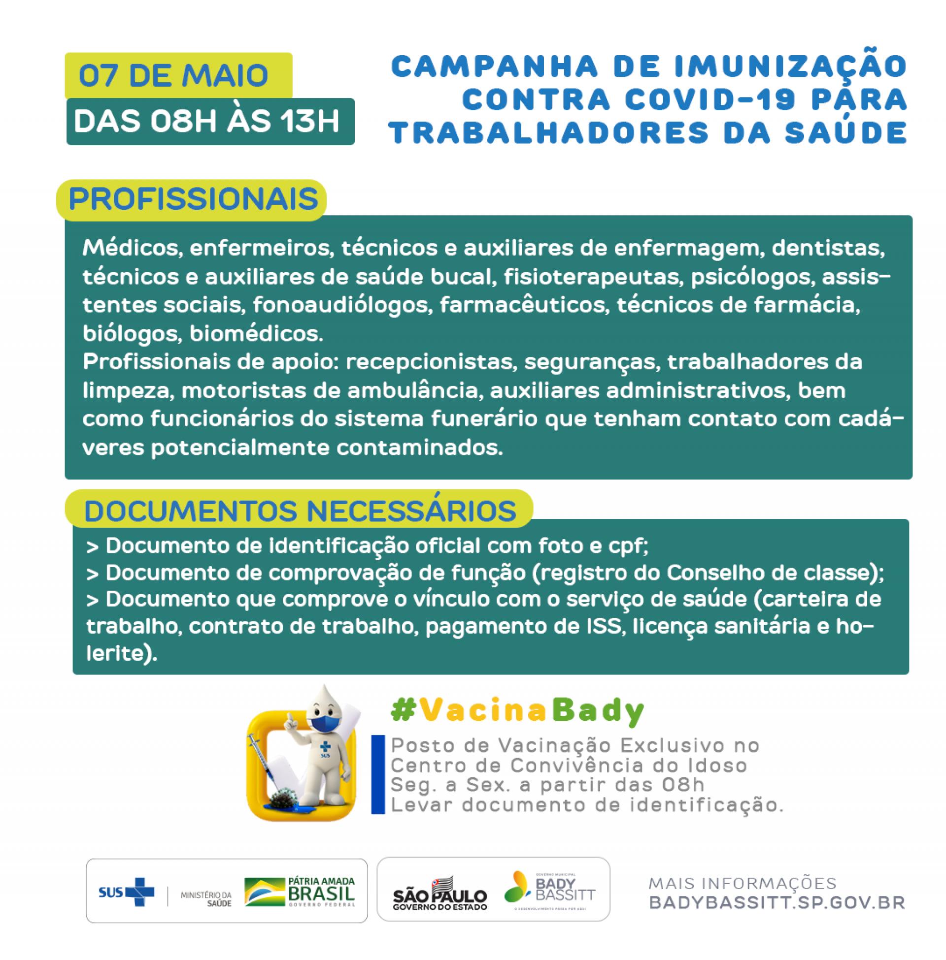 Bady Bassitt retoma vacinação em profissionais da saúde nesta sexta-feira