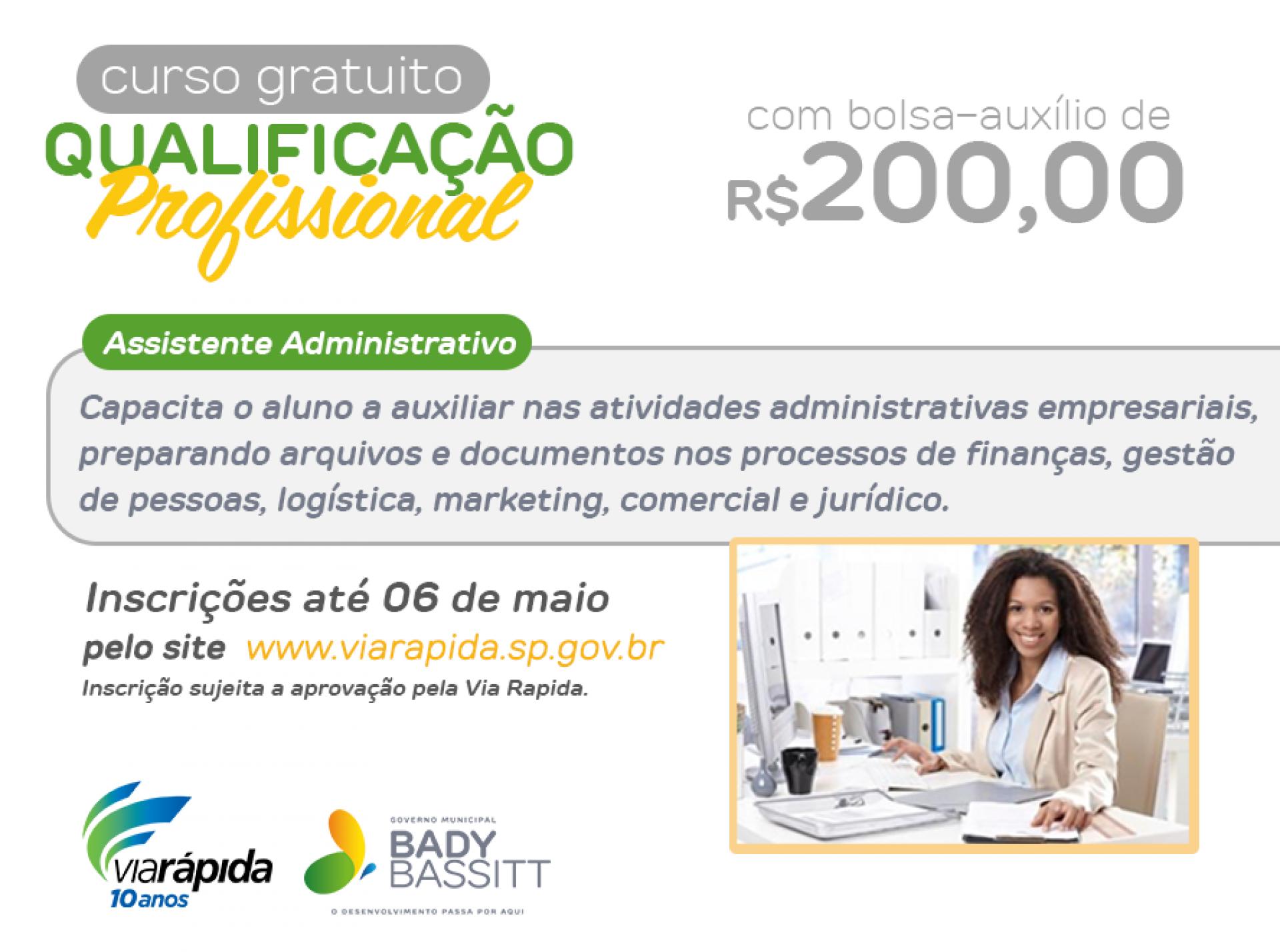 Bady Bassitt tem vagas de curso de qualificação profissional com bolsa auxilio de R$200,00