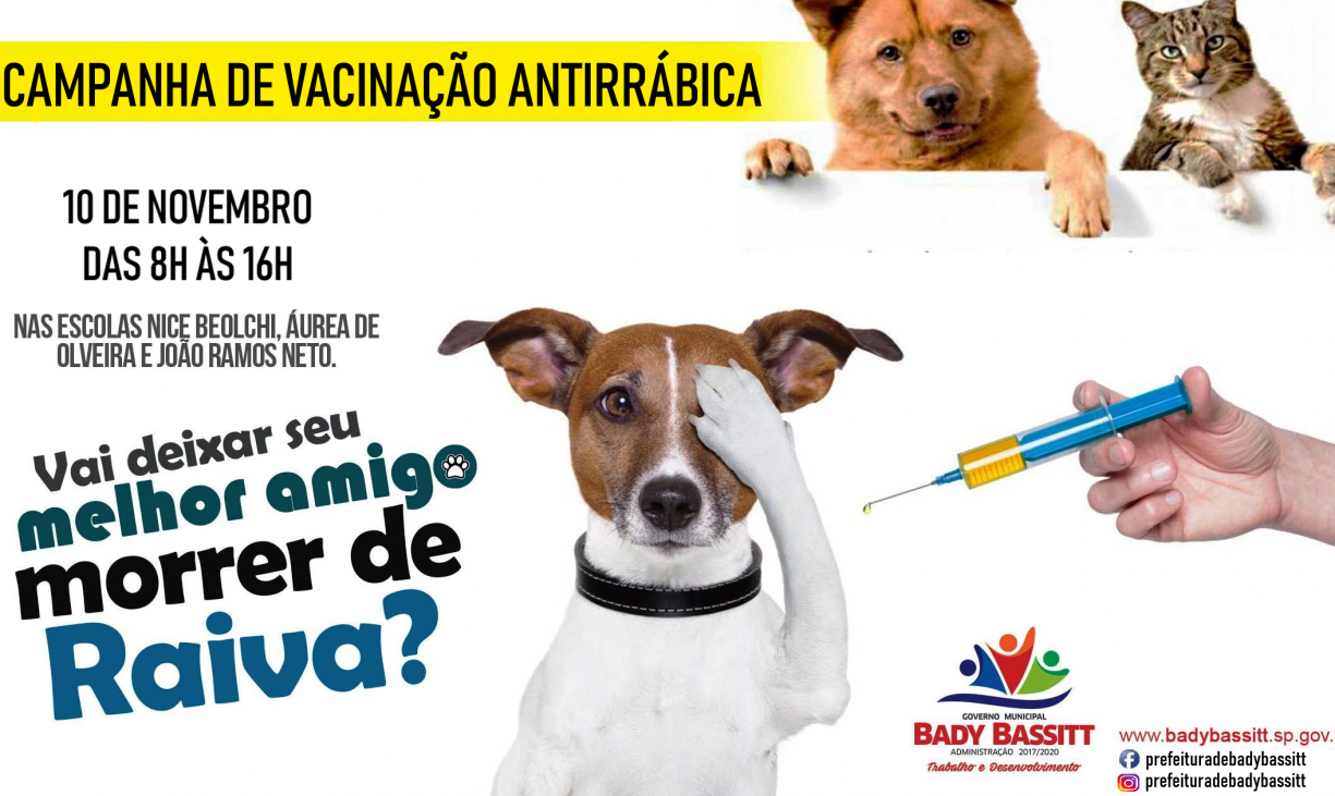 Vacinação contra a raiva em cães e gatos será neste sábado