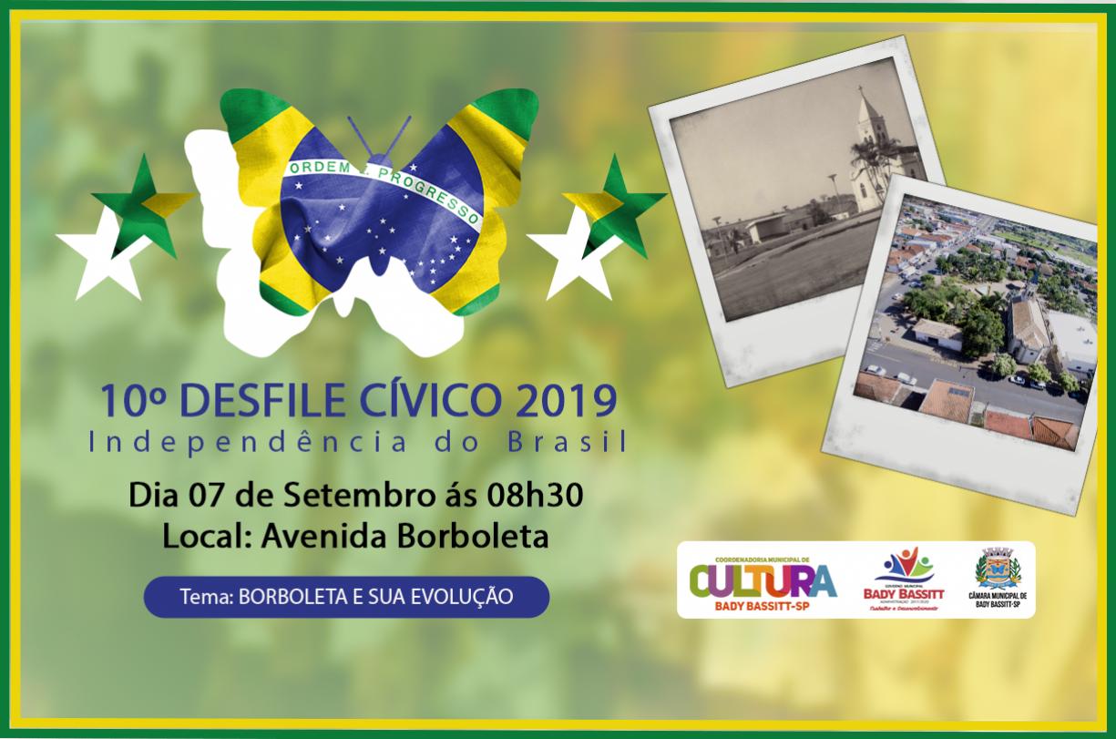 Desfile Cívico 2019 será na Av. Borboleta e terá como tema a evolução de nossa cidade
