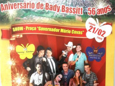 Bady comemora 56 anos com shows na praça